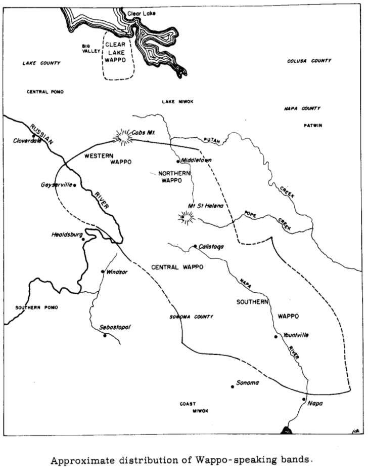 "Map of traditional territory of Wappo-speaking people, from Sawyer (1965) ""English-Wappo Vocabulary"""